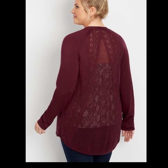 Maurices Plum Pointelle Back Cardigan 2X NWT